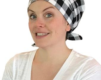 Krystal Women's Flannel Head Scarf, Cancer Hat, Chemo Scarf, Alopecia Head Cover, Head Wrap, Headwear for Hair Loss. Black and White Plaid