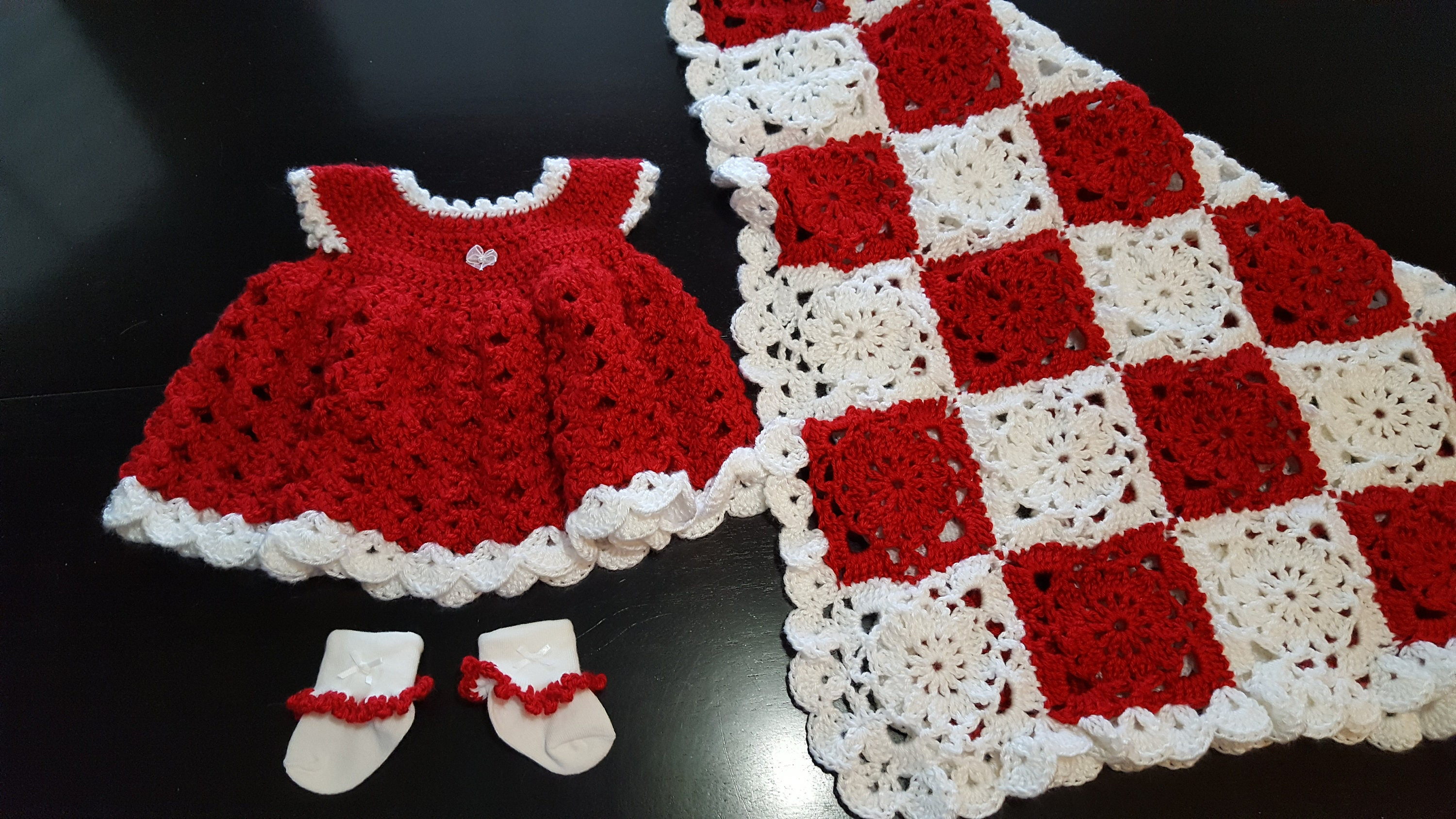 Crochet baby dress blanket and socks