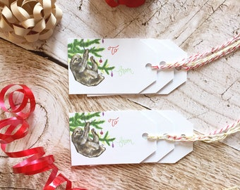Sloth Gift Tag Set - Christmas Gift Tags, Paper Gift Tag, Christmas Packaging, Christmas Gift Wrap, Sloth Christmas