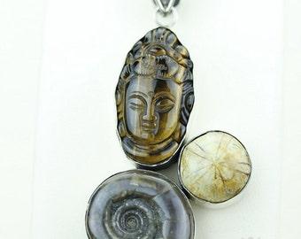 BUDDHA STARFISH FOSSIL Tiger eye Ammonite Ammolite 925 S0LID Sterling Silver Pendant + 4mm Snake Chain & Free Worldwide Shipping mp166