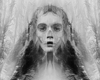 She Wants The Silence - FREE SHIPPING Surreal Photo Print Creepy Portrait Dark Art Girl Death Face Skull Black & White Haunting Gray Plastic
