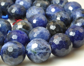 32 pcs of A Grade--Natural Blue Sodalite Stone faceted round in 10mm