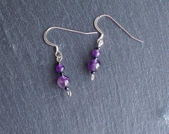 Purple Amethyst Earrings ~ Light weight simple style