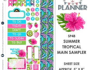 Summer Tropical Sampler  | Over 30+ Kiss-Cut Stickers | Fits Personal Size Planners  | Lily Pulitzer Inspired | SP48