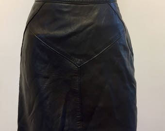 Size 10 Black Leather Skirt