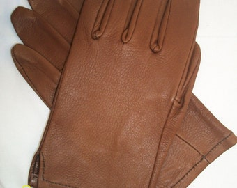 Men's Top Grain Brown Deerskin Leather Driving Gloves - Made in The USA
