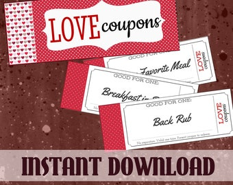 Printable Love Coupon Book Customized for Him or Her with BONUS Naughty Coupons - Instant Gift for Boyfriend, Girlfriend, Husband or Wife