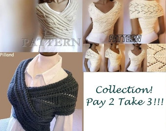 Collection 3 patterns with the price of 2 Knitting Pattern Cowl Vest PDF Pattern Knit vest pattern in ENGLISH ONLY