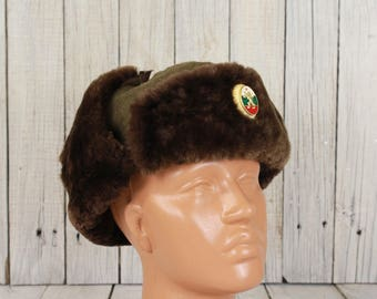 Vintage military hat, Wool hat, WW II hat, Winter hat, Trapper hat, Ushanka, Steampunk hat military accessory, Russian winter hat, Army hat