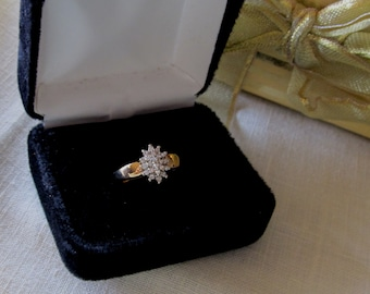 Diamond Cluster Ring  14K Yellow Gold  size 7. Vintage  Exquisite Elegant lovely Diamond Ring .........