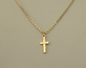 Gold cross necklace - Hammered  high quality gold cross pendant. high quality
