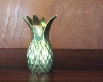 Vintage Brass Pineapple Vase-Pineapple Holder