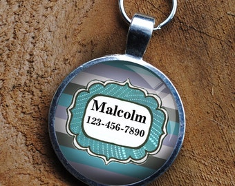 Pet iD Tag blue and grey striped colorful round Dog Tag 35mm round -  by California Mutts