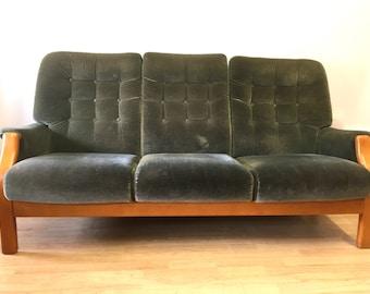 Cintique Green Plush Sofa Vintage,Retro, Mid Century Design 1960s 1970s