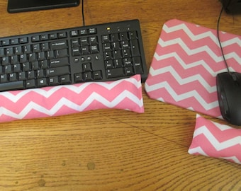 Coral Chevron Mouse Pad and Wrist Rest, Chevron Computer Set