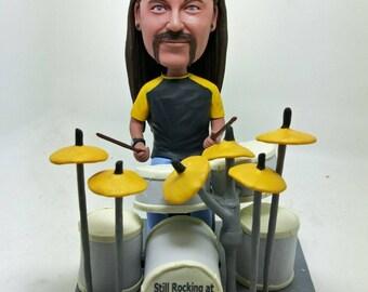 Drummer Personalized Bobble Head Figurine Boyfriend Gift Husband Gift Son Gift Drummer Birthday Cake Topper Father's Day Gift Drummer Gift