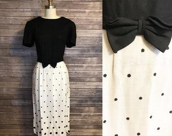 1980s Lanz Polka Dot Dress / 80s Black and White Bow Belt Scallop Hem Midi Dress / Vintage Black and White Linen Dress