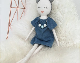 Mimi - handmade heirloom cloth doll with denim peasant dress and clay bead necklace