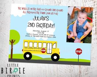 BUS INVITATION Bus Birthday Invitation Wheels on the Bus Invitation PRintable file with photo