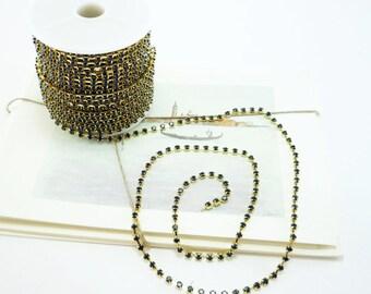 Gold Rhinestone Chain, Jet Black Crystal, (3mm / 1 Yard Qty)