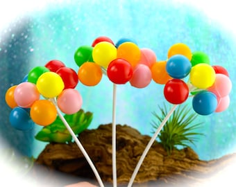 "Miniature Balloons Pick ~ Terrarium Accessory ~ 3/4"" Balloons ~ 6 Inch Pick with 12 Balloons in various colors ~ 1 Pick per Quantity ordered"
