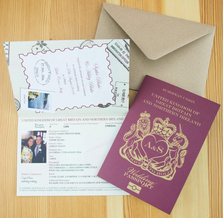 Personalised Passport Wedding Invitations UK Destination