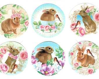 Stickers, Rabbits, Sticker Seals, Rabbit Stickers, Bunny Stickers, Rabbit & Roses, Party Favors