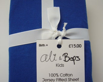 Gender Neutral Super Soft Jersey Moses/Pram Fitted Sheet Royal Blue