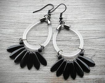 Black and Clear White Earrings Translucent Tassel Earrings Modern Rubber Jewelry PVC Boho Jewelry