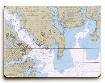 MD: Annapolis Harbor, MD Nautical Chart Sign, Annapolis Map Wall Art, Annapolis Wall Sign, Annapolis Chart