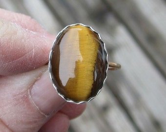 Tiger Eye Sterling Silver and Brass Mixed Metal Ring - Size 7