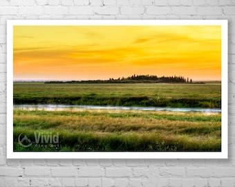Prairie sunrise photography, office landscape art, print black frame, photography art gift, 14x20 mat print, 9X9, 12X12, 16X16, saskatchewan