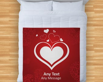 Valentines Day Gift Personalised Classy Hearts Design Soft Fleece Blanket Cover Throw Over Sofa Bed Blanket
