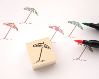 Beach parasol rubber stamp Summer decor Beach wedding DIY wedding Rainbow parasol Scrapbooking stamp Stationery Kawaii Japanese stamp Custom