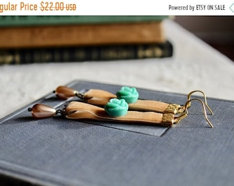 30% OFF SALE Light buckskin velvet earrings with turquoise rose and ivory drop pearls, Maple Grove