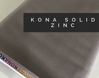 Kona cotton solid quilt fabric, Kona ZINC 1859, Solid fabric Yardage, Kaufman, Quilting Cotton fabric, Choose the cut