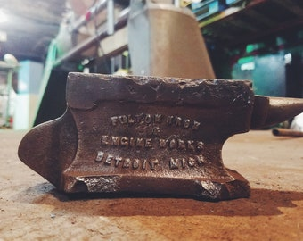 Vintage Fulton Iron Works Anvil Detroit, MI 1800's