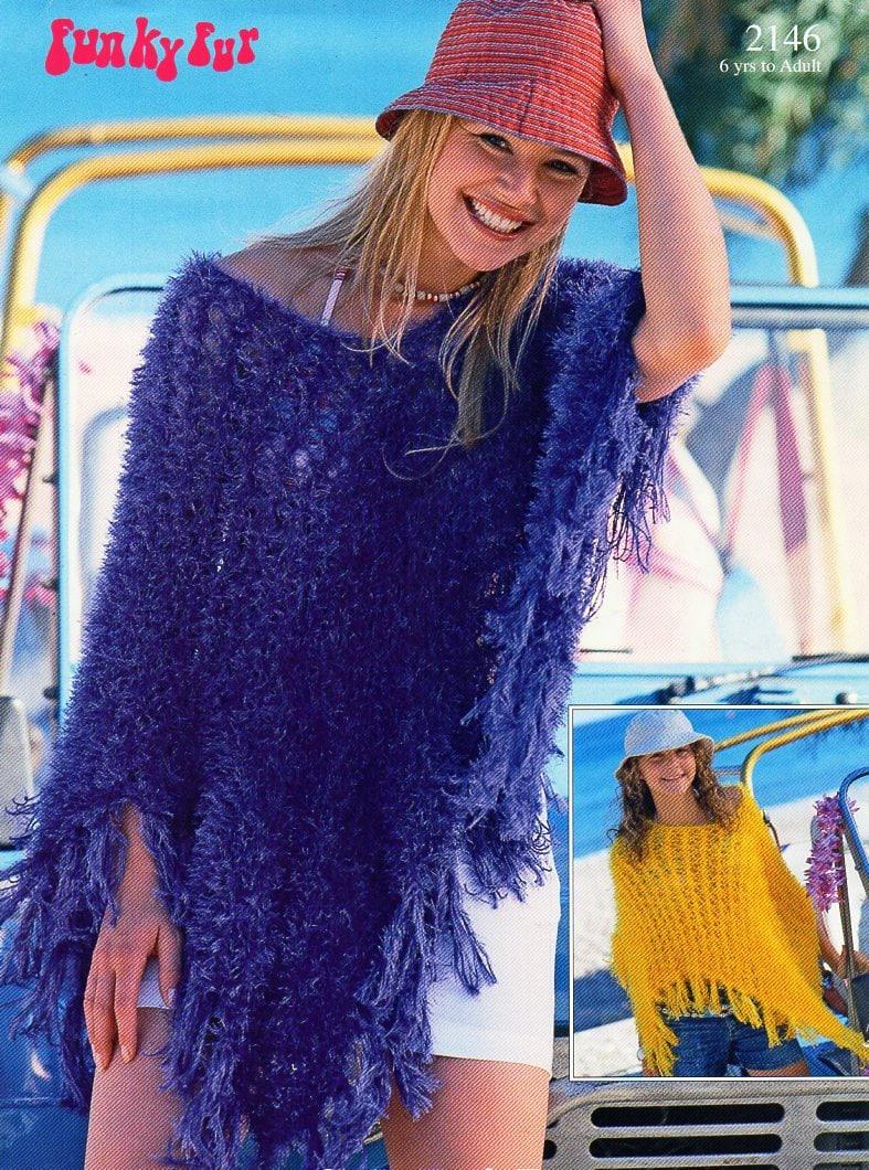 womens poncho knitting pattern pdf ladies furry poncho eyelash yarn ...