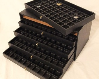 5 Drawer Multipurpose Bead And Gem Storage Case 250 Compartments Black Inserts