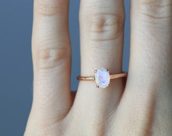 Solitaire Oval Genuine Moonstone Gold Ring, Rose Gold Ring, Engagement Ring, Moonstone Ring, Solitaire Engagement