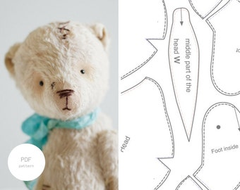 PDF Sewing Pattern & Tutorial Mohair Teddy Bear 7 Inches Stuffed Animal Pattern Artist Teddy Bear Pattern For Women Plush Pattern Soft Toys