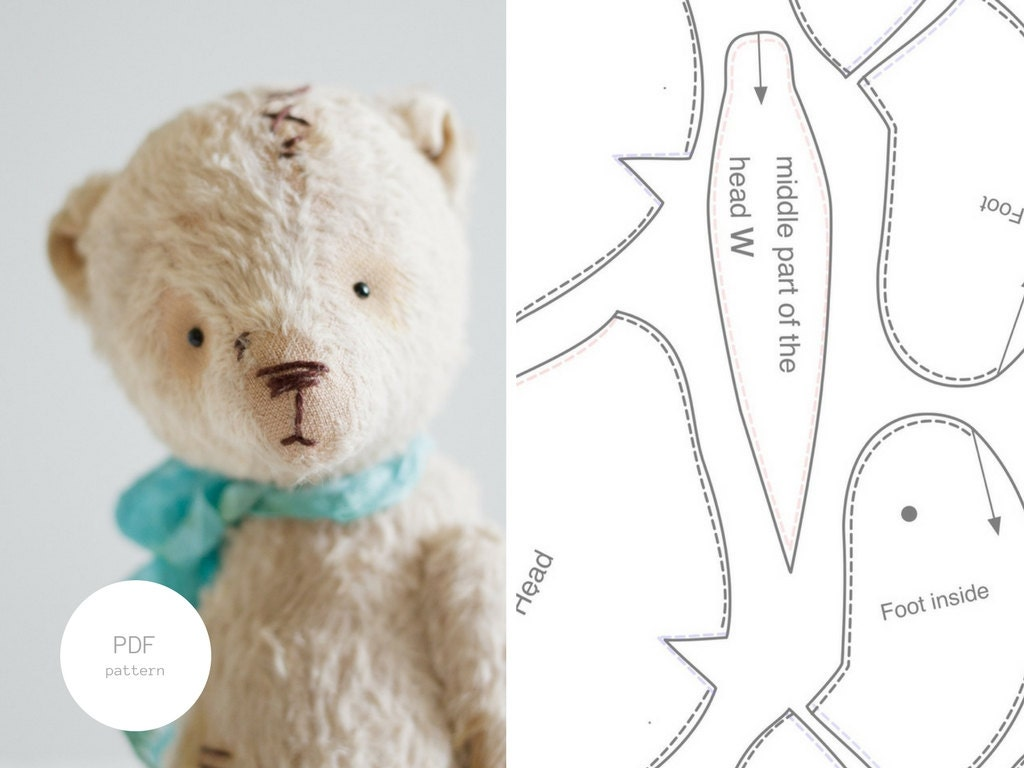 Pdf sewing pattern tutorial mohair teddy bear 7 inches stuffed this is a digital file jeuxipadfo Choice Image
