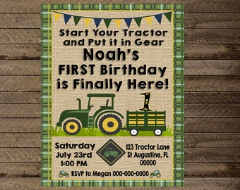 tractor invite, tractor invitation, green tractor, tractor birthday, boy tractor party, green tractor party, birthday, 1st, 2nd, 3