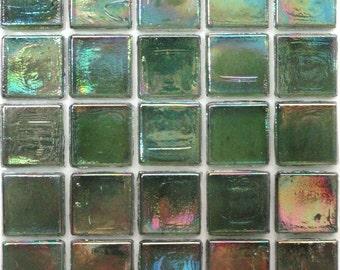 """15mm (3/5"""") Hunter Green IRIDESCENT Transparent Glass Mosaic Tiles//Mosaic Supplies//Mosaic//Crafts"""