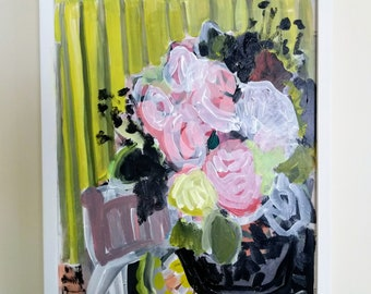 Citron Stripes- original floral painting -12x16 framed
