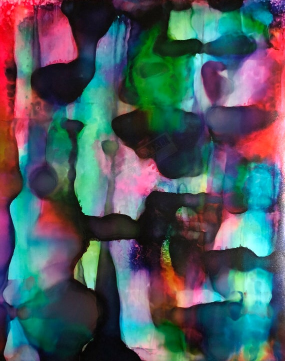 """Original Alcohol Ink Abstract Painting: """"When You Breathe, I Hear Music..."""" (11"""" X 14"""")"""