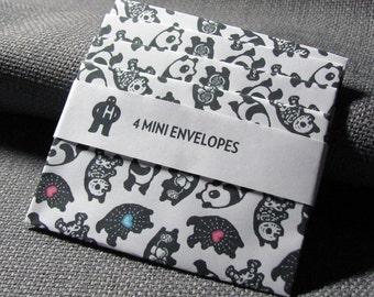 Mini Envelope set of 4: Panda Anatomy