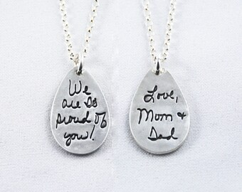 Memorial Jewelry Signature Necklace Your Loved One's Actual Writing or Signature on a Tear Drop Silver Pendant - Handwriting Jewelry