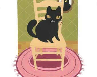 Original Cat Gouache Painting 8.5 x 11'