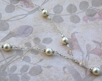 Ivory Pearl Necklace, White Swarovski Crystals, Sterling Silver Chain, Bridal Necklace, Wedding Jewelry, Y Drop Necklace, June Birthday Gift